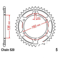 Rear sprocket 47 tooth pitch 520 JTR547