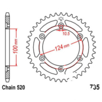 Rear sprocket 39 tooth pitch 520 JTR73539 für Ducati Supersport Carenata 600 600S 1994