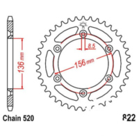 Rear sprocket 44 tooth pitch 520 JTR82244