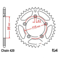 Rear sprocket 46 tooth pitch 420 JTR89446