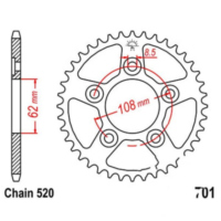 Rear sprocket 40 tooth pitch 520 JTR70140