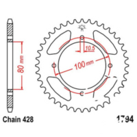 Rear sprocket 45 tooth pitch 428 JTR179445