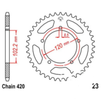 Rear sprocket 47 tooth pitch 420 JTR2347 für Aprilia RS Extrema/Replica 50 PG000 2000