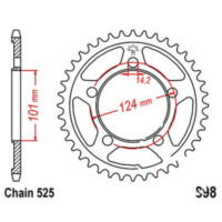 Rear sprocket 38 tooth pitch 525 JTR89838