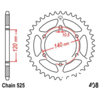 Rear sprocket 40 tooth pitch 525 JTR49840