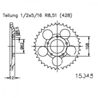 Rear sprocket 51 tooth 428 silver