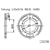 Rear sprocket 62 tooth pitch 428 black
