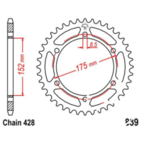 Rear sprocket 51tooth pitch 428 JTR83951