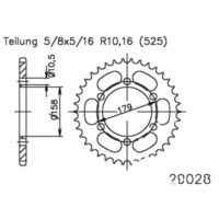 Rear sprocket 45 tooth pitch 525 502902845