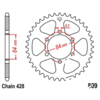 Rear sprocket 54 tooth pitch 428 black JTR80954