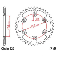 Rear sprocket 49 tooth pitch 520 JTR21049