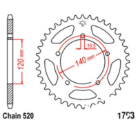Rear sprocket 45 tooth pitch 520 JTR179345