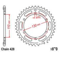 Rear sprocket 46 tooth pitch 428 JTR187046
