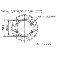 Rear sprocket aluminium 50 tooth pitch 520 513223350