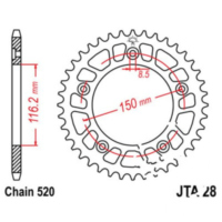 Rear sprocket aluminium 42tooth pitch 520 silver JTA2842