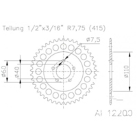 Rear sprocket aluminium 44 tooth pitch 415 silver