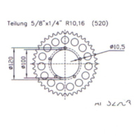 Rear sprocket aluminium 40 tooth pitch 520 513220840