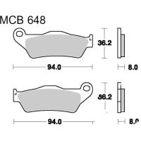 Brake pads sintered sv trw MCB648SV für Ducati Multistrada  620 A103AA/A104AA 2006 (front)