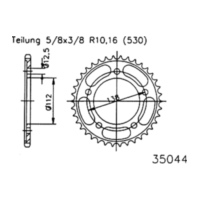Rear sprocket, 43 teeth 92-35044-43 für Honda CB  1300 SC54 2006-2008 (alternativ)