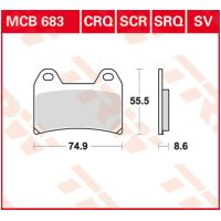 TRW Lucas sinter disc brake pad MCB683SV für Moto Guzzi Breva V1100 100 LPC 2008-2009 (vorn left,vorn right)